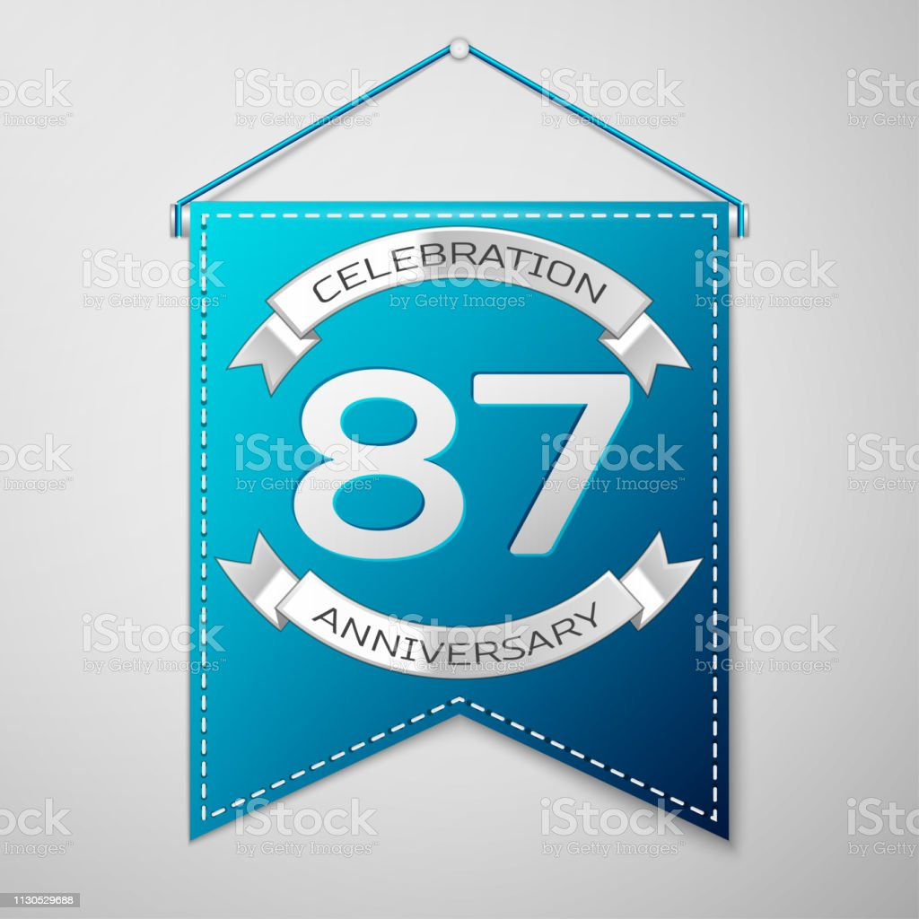 Blue pennant with inscription Eighty seven 87 Years Anniversary Celebration Design over a grey background. Silver ribbon. Colorful template elements for your birthday party. Vector illustration vector art illustration