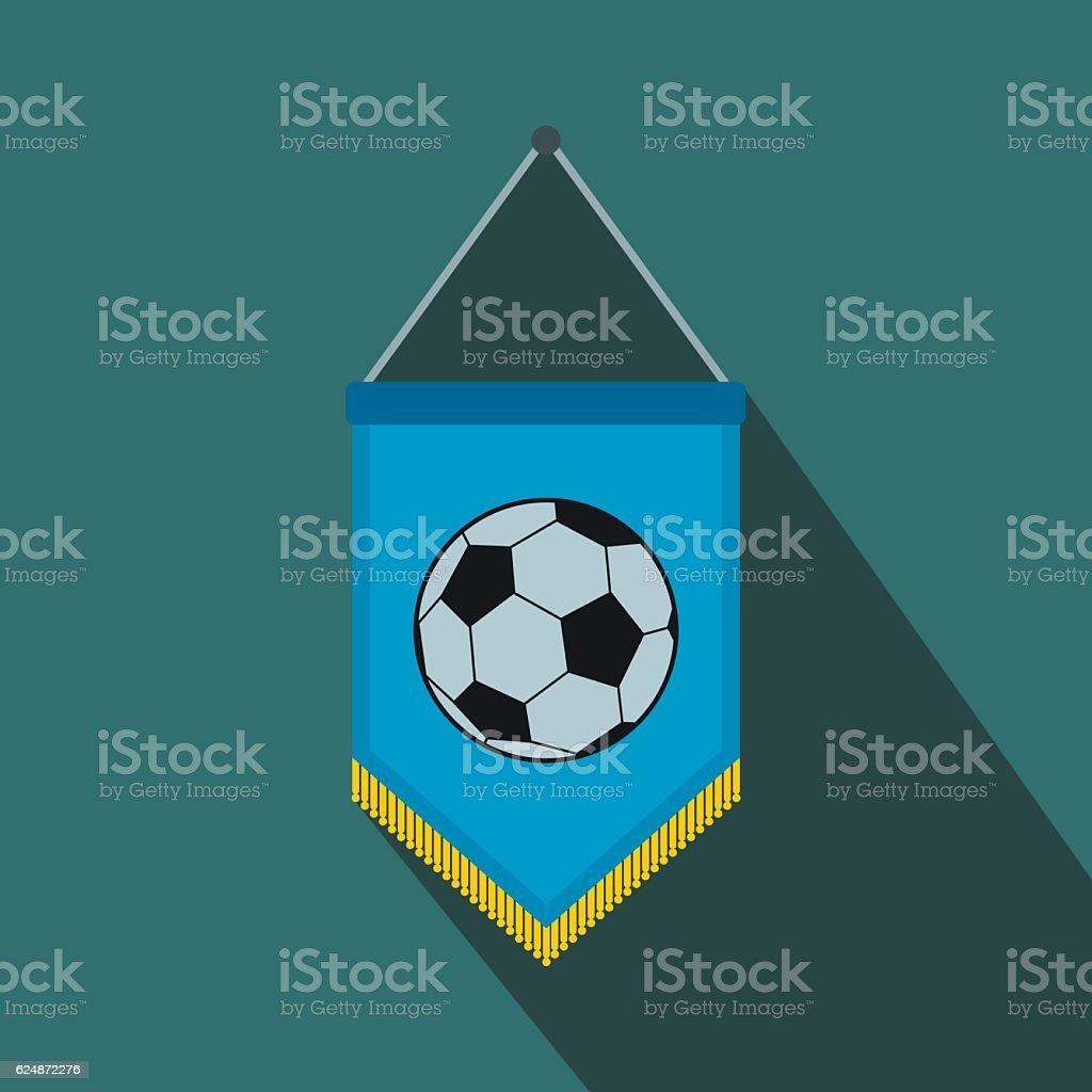 Blue pennant with soccer ball flat icon - ilustración de arte vectorial