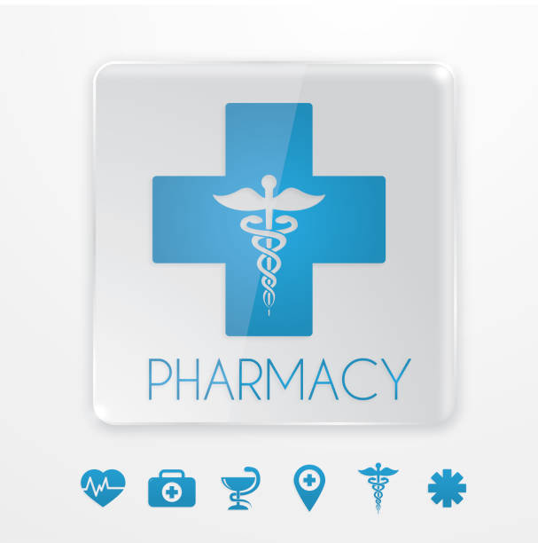 Blue pharmacy symbol vector art illustration