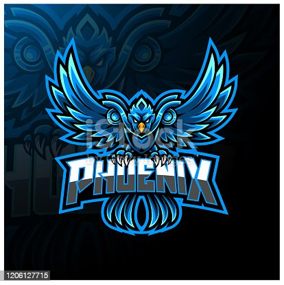 Illustration of Blue phoenix esport mascot logo design