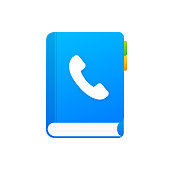 istock Blue phone book on white background. Phone icon, telephone symbol. Support service icon. Vector stock illustration. 1285536461