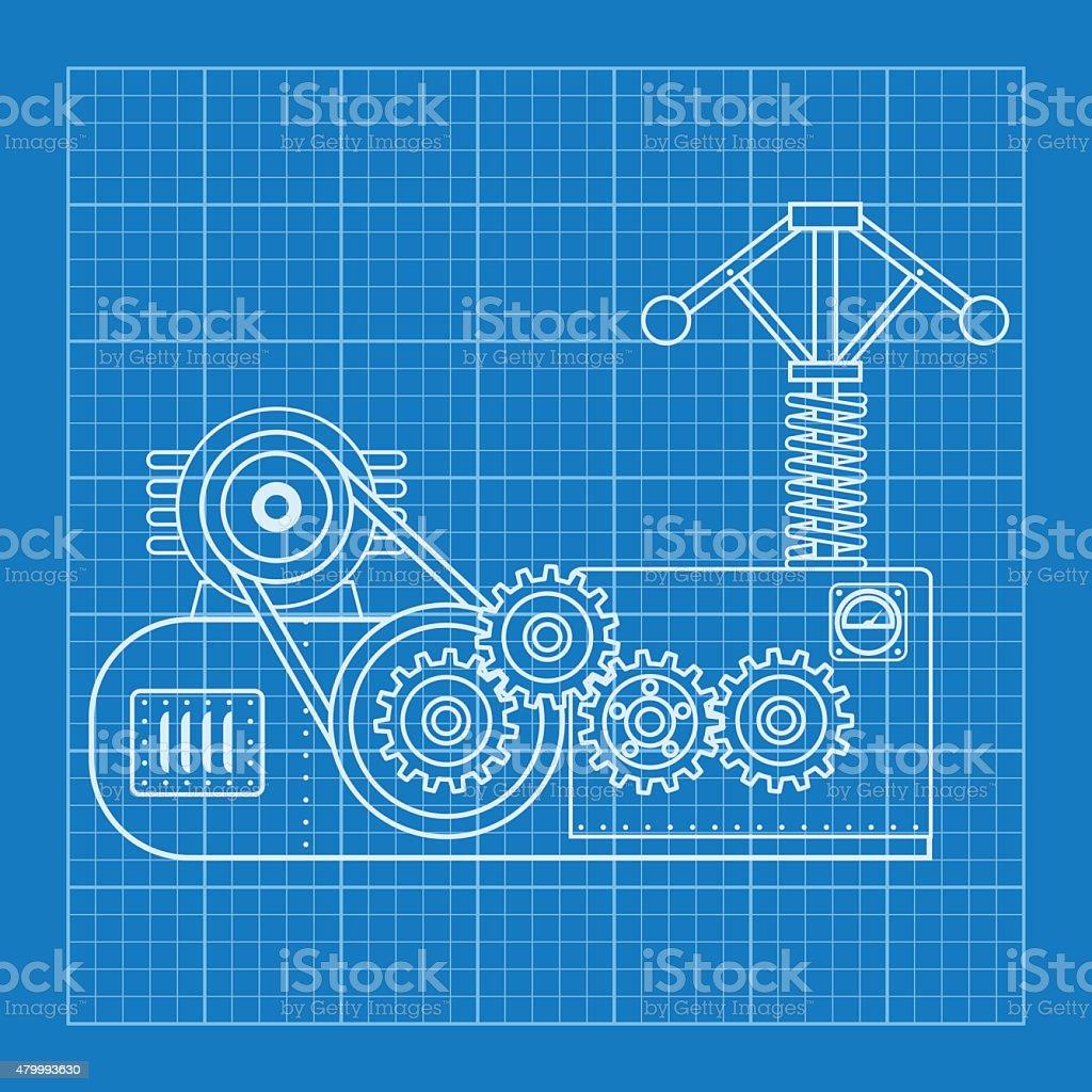 Blue physical formula vector illustration mechanical blueprint of blue physical formula vector illustration mechanical blueprint of engine royalty free blue physical formula malvernweather Images