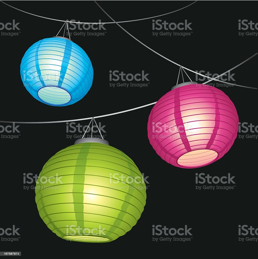Blue pink and green Chinese lanterns hanging from a string vector art illustration