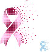 blue pink flying pixel ribbon - prostate breast cancer
