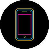 Vector illustration of a round colorful neon smart phone.