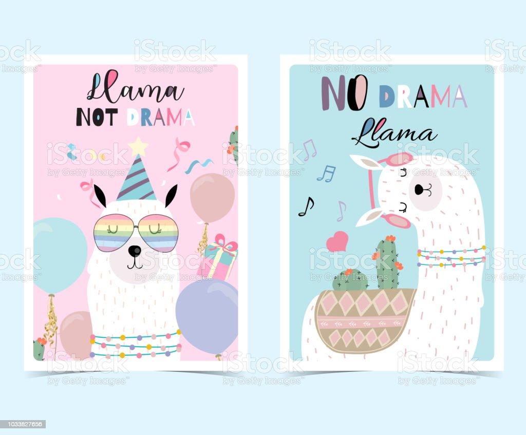 84b63e2ea Blue pink hand drawn cute card with llama, glasses,cactus in summer.No  drama llama, Llama not drama - Illustration .