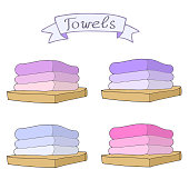 Blue, pink, purple towels collection with ribbon. Vector hand drawn set. Bath towels clip art sketch illustration