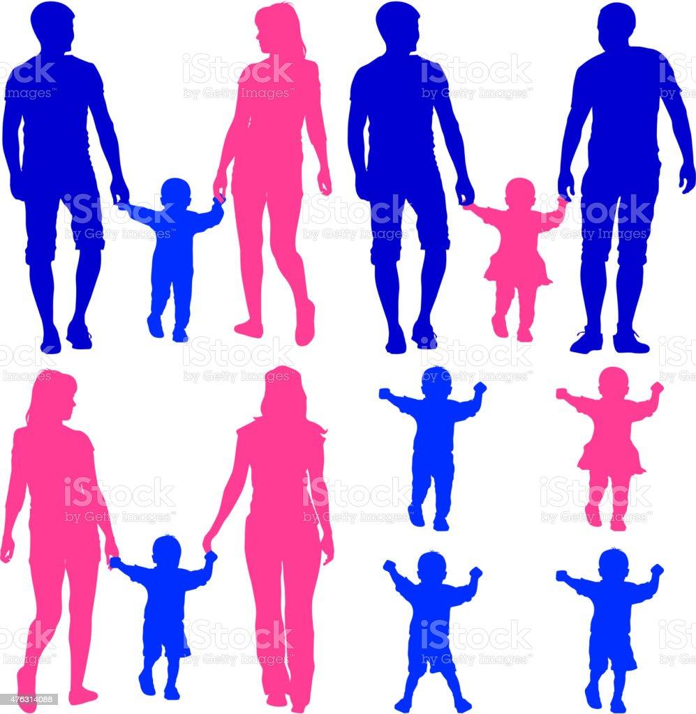 silhouettes de bleu, de rose pour les couples homosexuels et les familles avec enfants - Illustration vectorielle