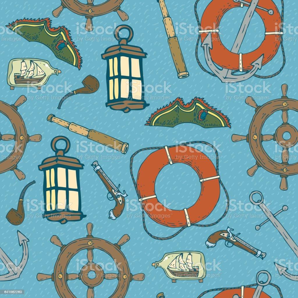 Blue Pirat Seamless Pattern vector art illustration