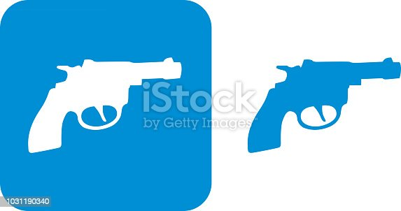 Vector illustration of two blue pistol icons.