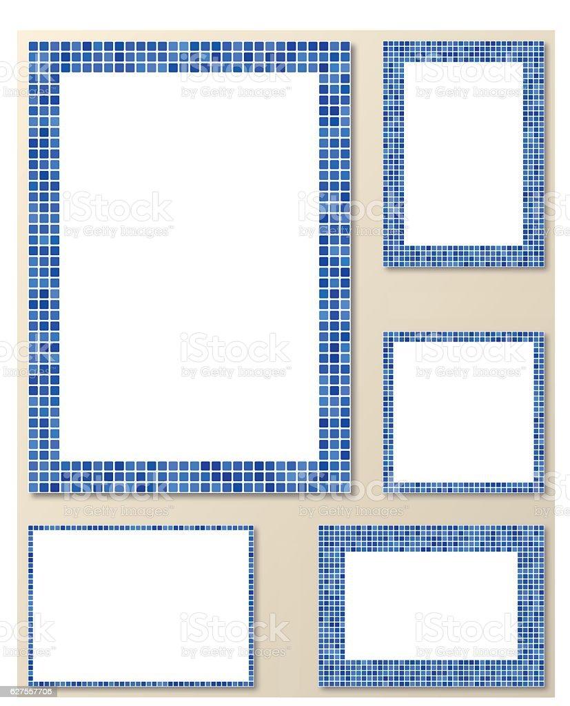 Blue pixel mosaic page frame set