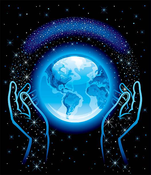 bildbanksillustrationer, clip art samt tecknat material och ikoner med blue planet, hands and space with stars - earth from space