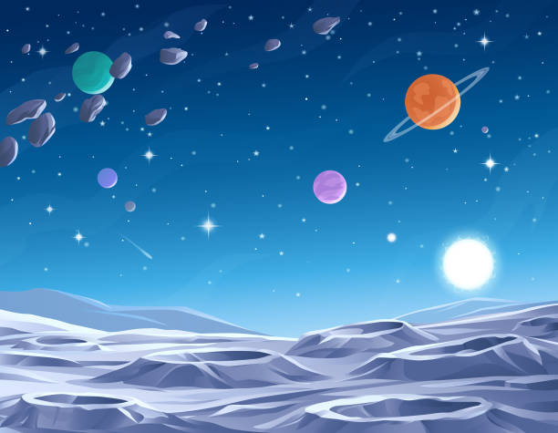 Blue Planet Surface of an alien planet or moon, saturated with craters. In the background is a dark blue sky full of stars, comets, asteroids and planets. Vector illustration with space for text. moon surface stock illustrations