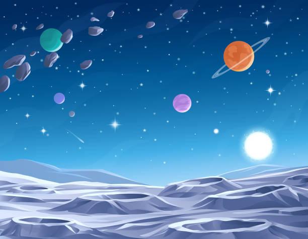 blue planet - космос и астрономия stock illustrations