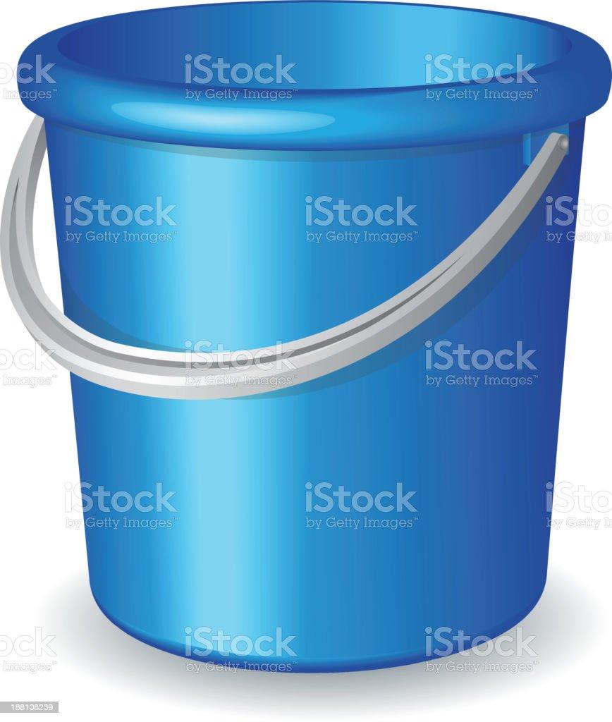 Blue plastic bucket isolated on white background vector art illustration