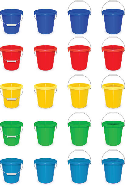 Blue plastic empty bucket with handle for cleaning and housekeeping. vector art illustration