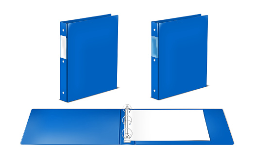 Blue plastic three ring binder file folder with label pocket - open and closed. Vector template for design. Easy to recolor