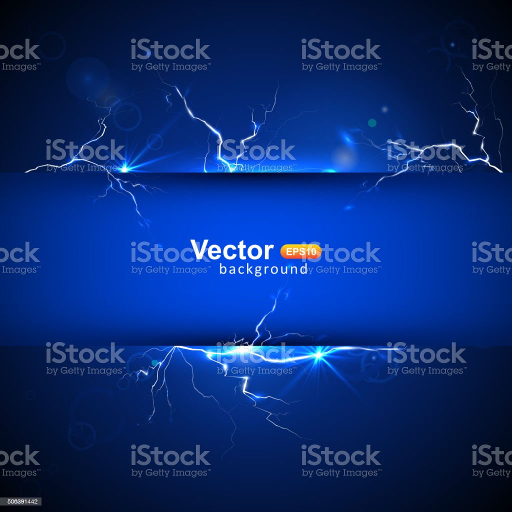 Blue plate under voltage vector art illustration