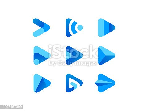 Vector illustration of blue play media button logo.