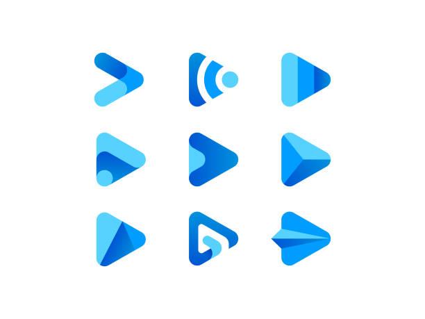 Blue Play Media Button Logo vector art illustration