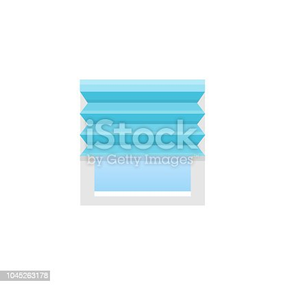 Blue pleated blind. Vector illustration. Flat icon of shade. Element of home & office window decoration.