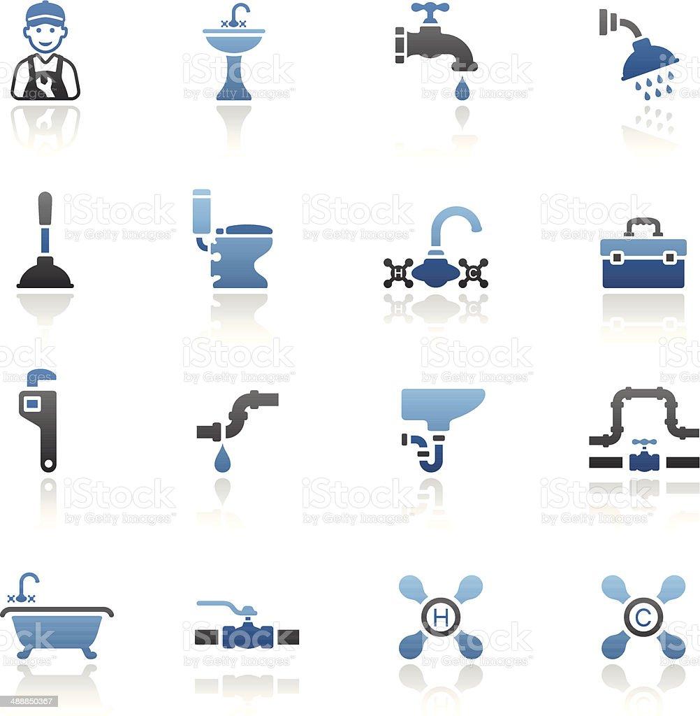 Blue Plumbing Icon Set vector art illustration
