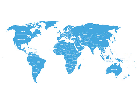 Blue political World map with country borders and white state name labels. Hand drawn simplified vector illustration