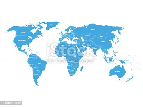Blue political World map with country borders and white state name labels. Hand drawn simplified vector illustration.