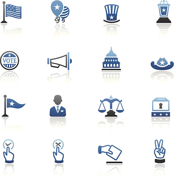 Blue Politics Icon Set High Resolution JPG,CS6 AI and Illustrator EPS 10 included. Each element is named,grouped and layered separately. Very easy to edit.  party conference stock illustrations