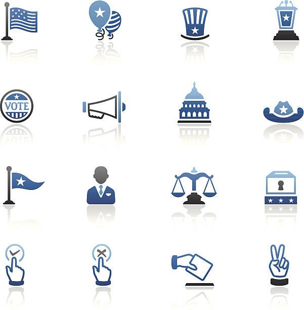 синий политика икона set - presidential debate stock illustrations