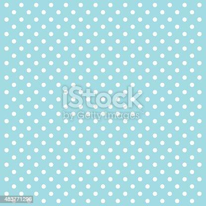Blue Polka Dots Vector Illustration Background.