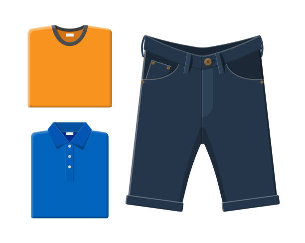Blue polo shirt, orange t-shirt, jeans shorts. Blue polo shirt, orange t-shirt, jeans shorts. Men summer clothes. Vector illustration in flat style hot pockets stock illustrations