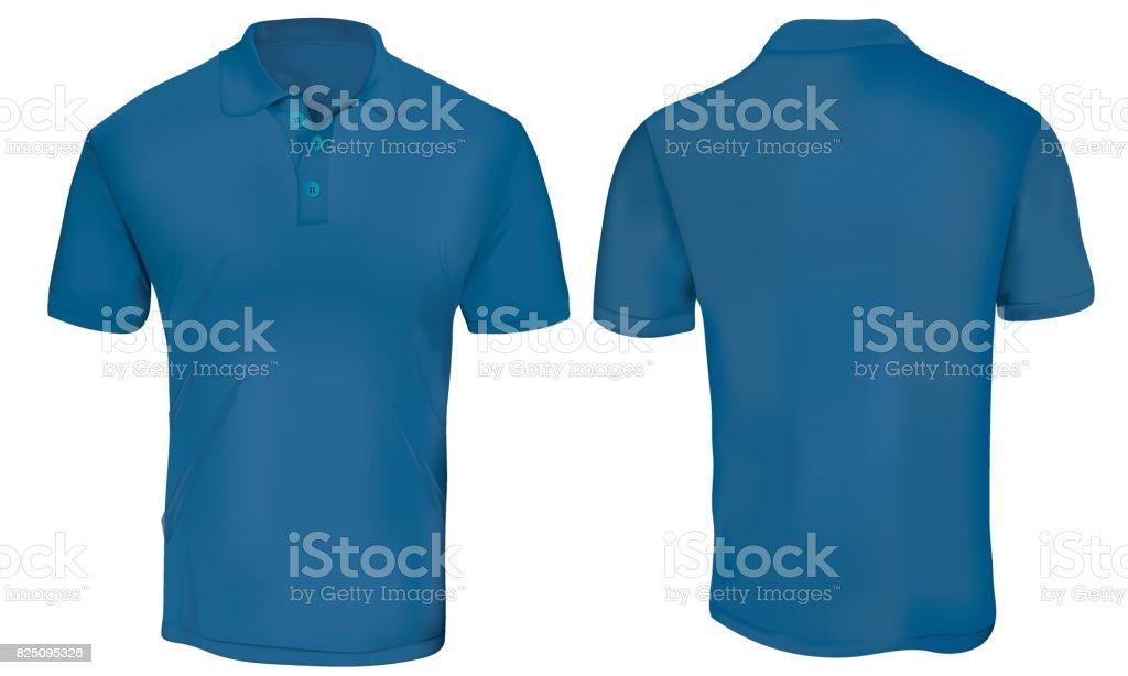 Blue Polo Shirt Template vector art illustration