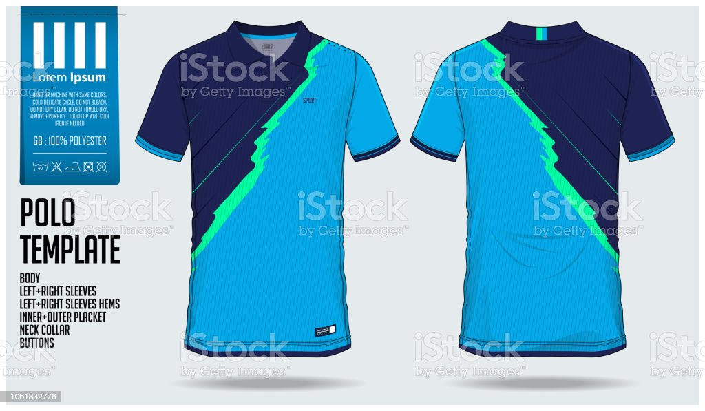 468ee4285 Blue polo t-shirt sport template design for soccer jersey, football kit or sport  shirt. Sport uniform in front view and back view. T-shirt mock up for sport  ...