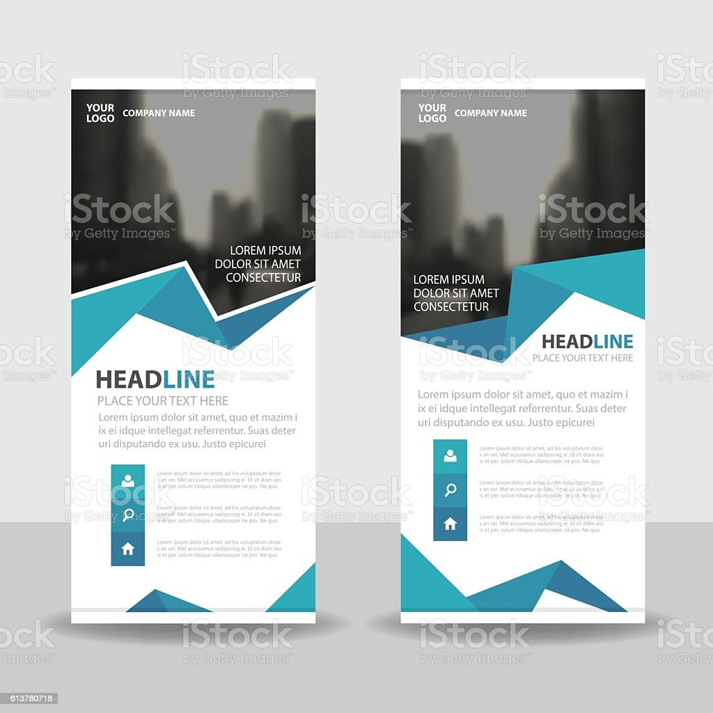 Blue polygon Business Roll Up Banner flat design template Abstract vector art illustration