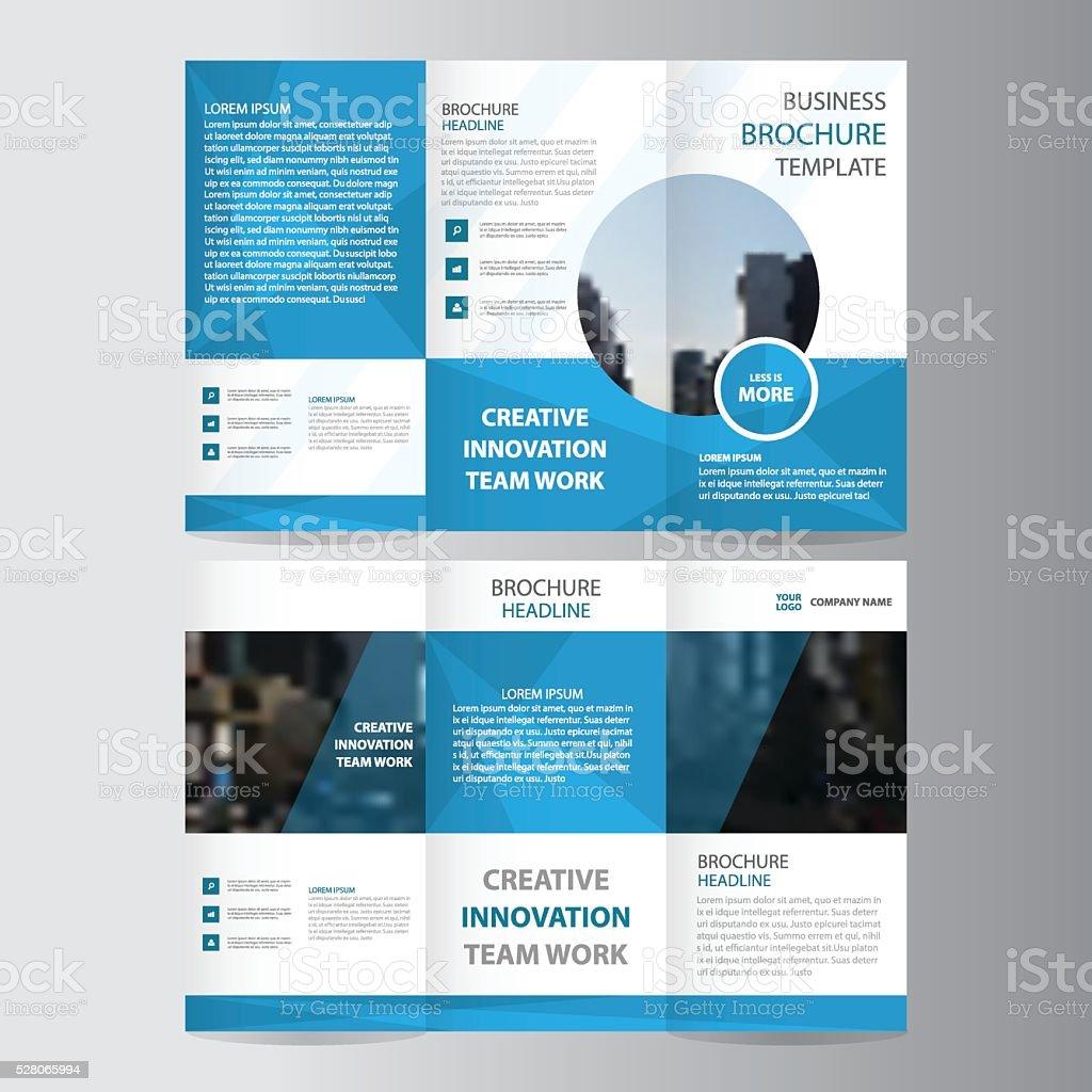 Blue Polygon Business Trifold Business Leaflet Brochure Flyer - Tri fold business brochure template