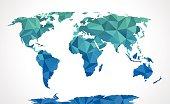 Blue polygonal world map vector