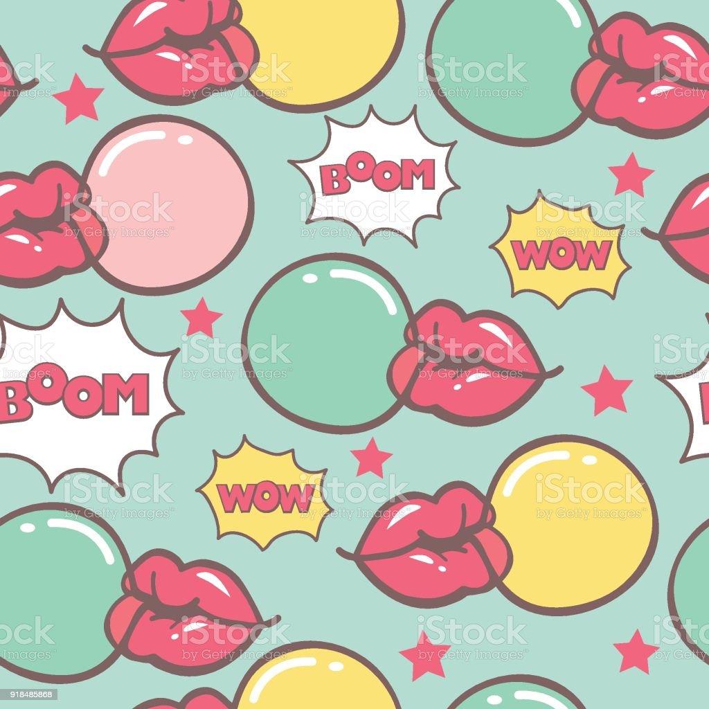 blue pop art seamless vector pattern with bubblegum vector art illustration