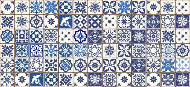 niebieski portugalski wzór płytek - wektor azulejos, płytki wystroju wnętrz mody - kultura portugalska stock illustrations
