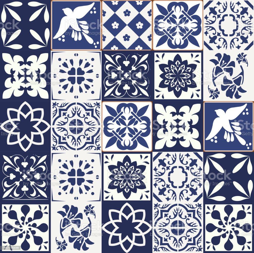 portugiesische fliesen muster azulejos vektor blau. Black Bedroom Furniture Sets. Home Design Ideas
