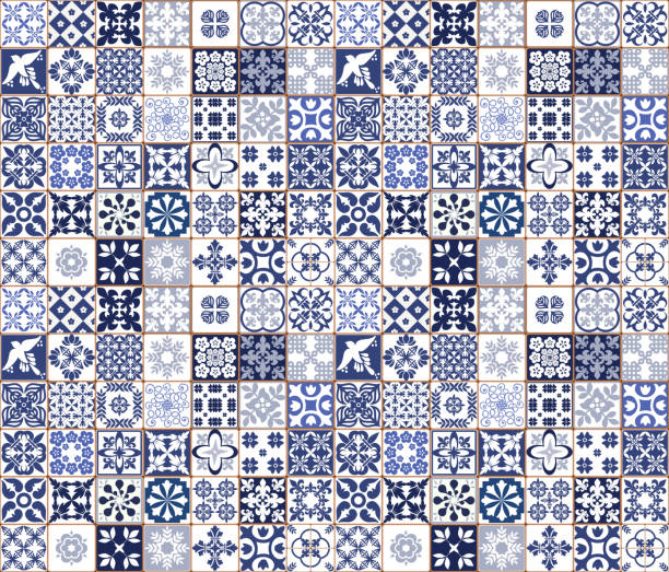 blue portuguese tiles pattern - azulejos vector, fashion interior design tiles - lizbona stock illustrations