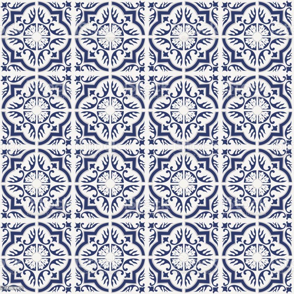 portugiesische fliesen muster azulejos vektor blau mode interior designfliesen lizenzfreies portugiesische fliesen muster - Fliesen Mit Muster