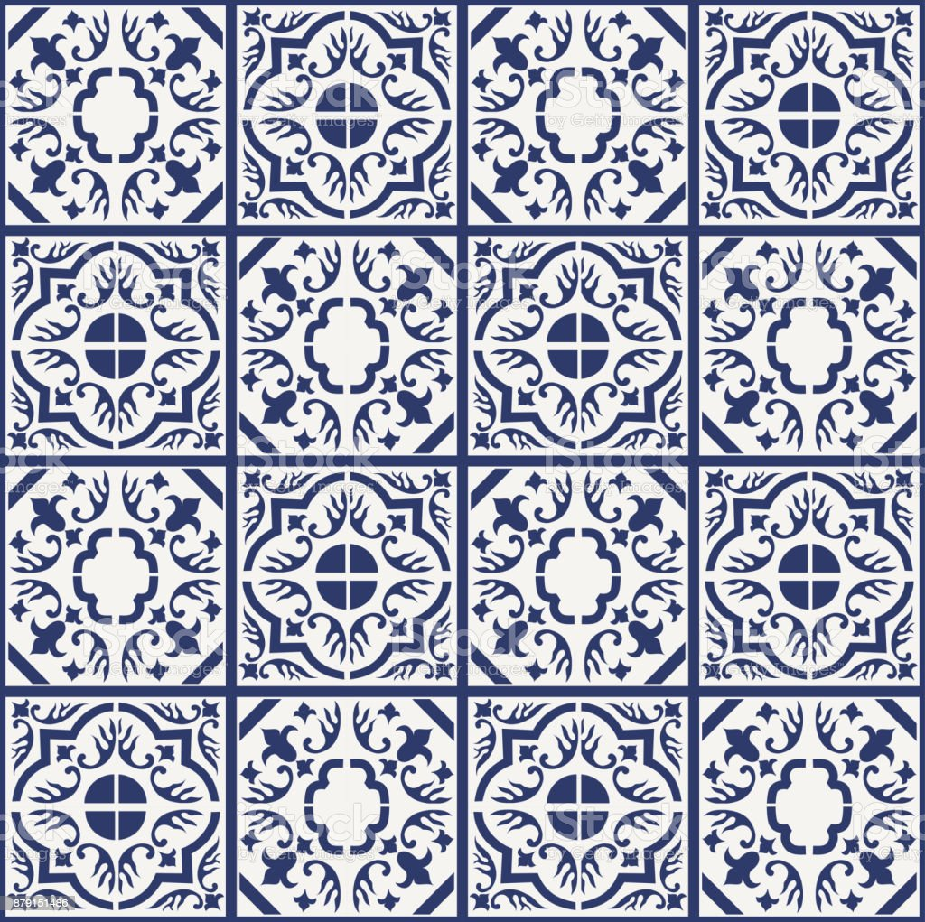Portugiesische Fliesen Muster Azulejos Vektor Blau Modeinterior ...