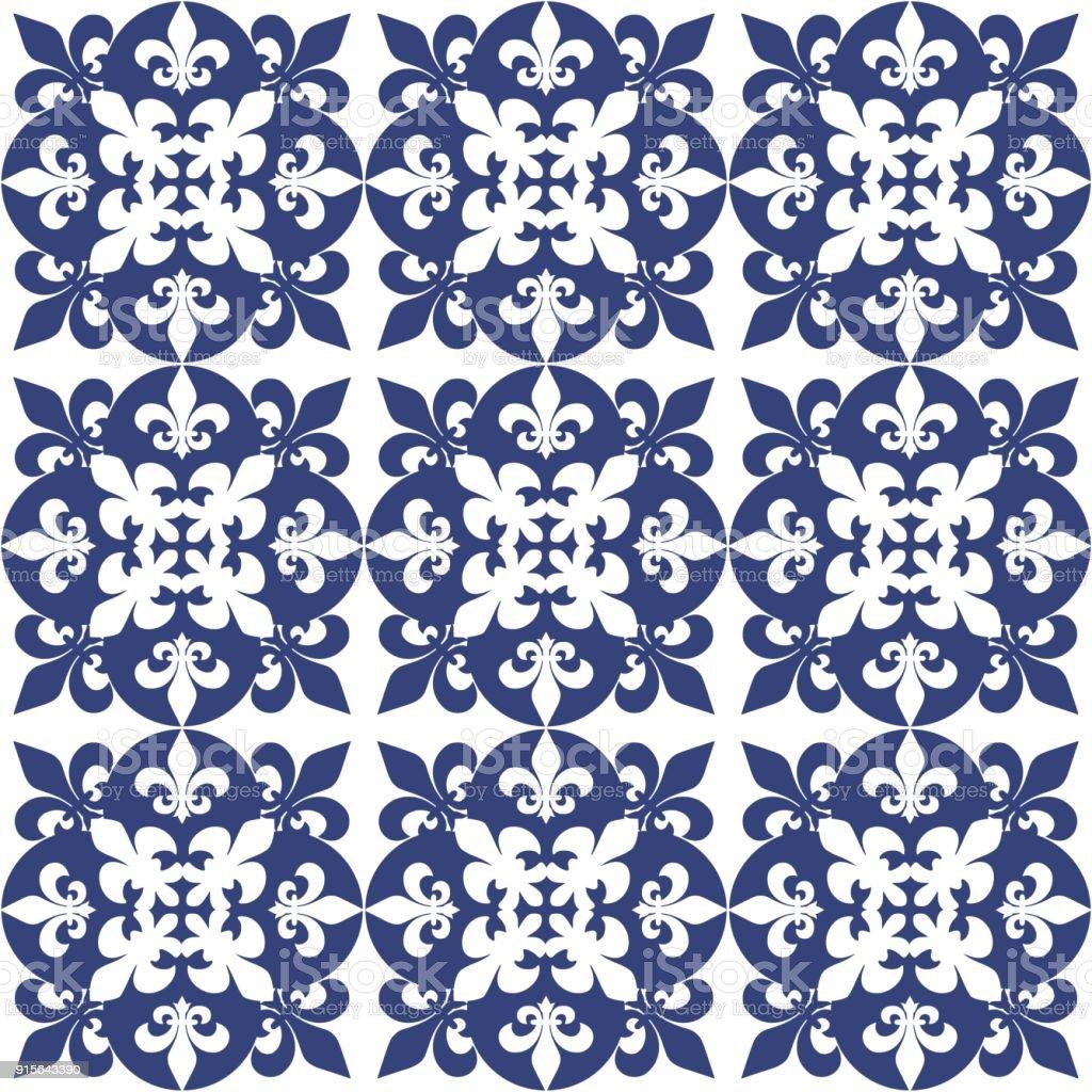 Portugiesische Fliesen Muster Azulejos Vektor Blau Modeinterior - Portugiesische fliesen azulejos