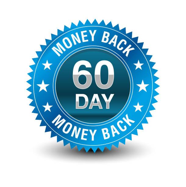 ilustrações, clipart, desenhos animados e ícones de azul poderoso 60 dia dinheiro de volta garantia emblema. - dia do cliente