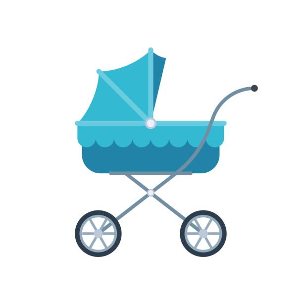 Blue pram for kid Blue pram for kid. Baby carriage icon. Vector illustration in flat style isolated on white background baby carriage stock illustrations