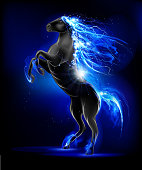 Prancing Lightning Horse, symbol 2014. EPS 10 file. multiply, screen and transparency effects.