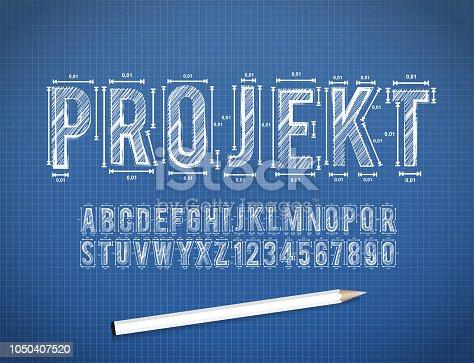 Blue Print sketch font in vector format