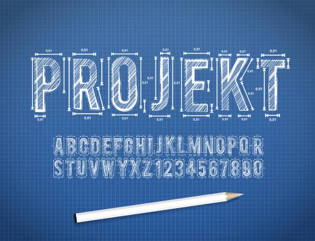 Blue Print sketch vector font Blue Print sketch font in vector format alphabet icons stock illustrations