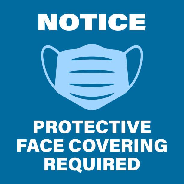ilustrações de stock, clip art, desenhos animados e ícones de blue protective face covering required sign with face mask symbol - máscaras